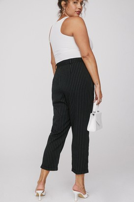 Nasty Gal Womens As Line Goes By Plus Pinstripe Trouser - Black - 16