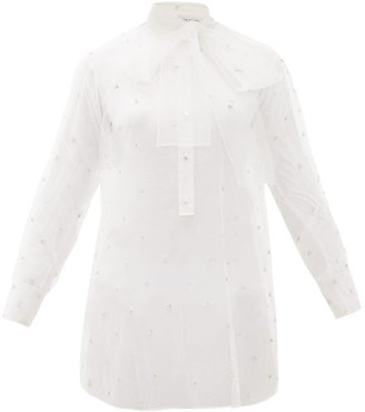 Valentino Pussy-bow Crystal-embellished Tulle Blouse - White