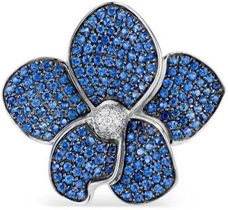 Ri Noor Orchid Blue Sapphire & Diamond Ring