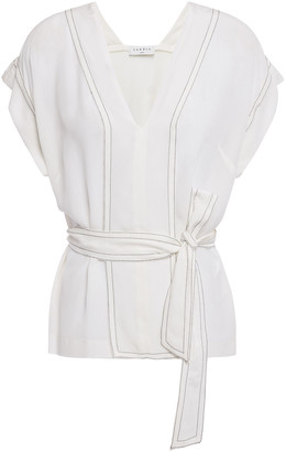 Sandro Charline Belted Washed-silk Top