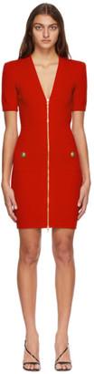 Balmain Red Front Zip Dress
