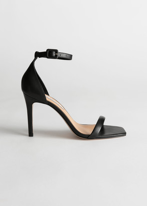 And other stories Square Toe Leather Stiletto Sandals