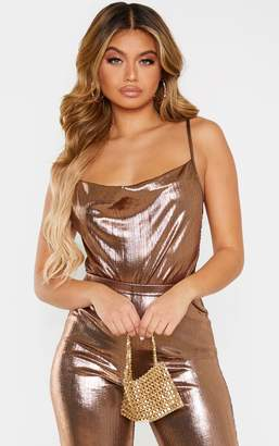 PrettyLittleThing Bronze Metallic Cowl Neck Bodysuit