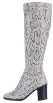 Calvin Klein Collection Snakeskin Round-Toe Boots