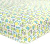 Carter's Cotton Fitted Crib Sheet, Owl/Grey/Yellow/Green/Blue