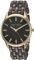 Anne Klein Women's Quartz Metal and Resin Dress Watch, Color:Grey (Model: AK/2616GYGB)