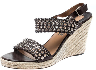 Salvatore Ferragamo Brown Leather Eyelet Detail Espadrille Wedge Ankle Strap Sandals Size 40.5