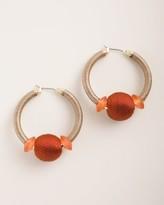 Chico's Chicos Coral-Hued Beaded Hoop Earrings