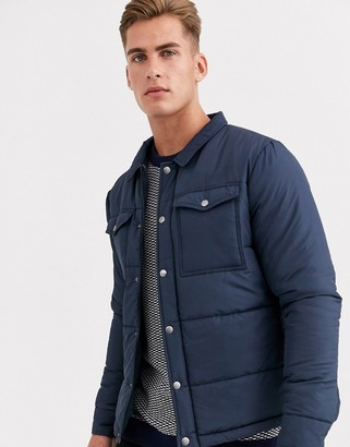 Selected two pocket padded coach jacket in navy