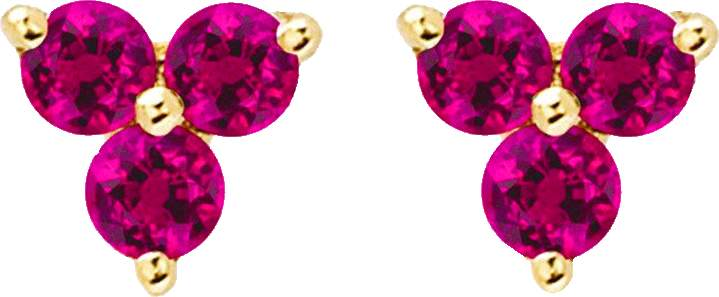 Ef Collection Ruby Trio Stud Earrings