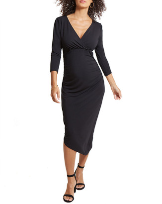 Ingrid & Isabel Maternity Solid 3/4-Sleeve Asymmetric Hem Dress