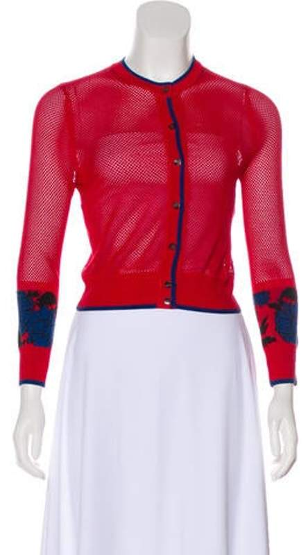 Sophie Theallet Silk Mesh Cardigan Red Silk Mesh Cardigan