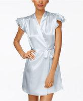 Oscar de la Renta Flutter-Sleeve Satin Wrap Robe