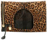 Tom Ford Alix Leopard-Print Padlock & Zip Fold-Over Bag
