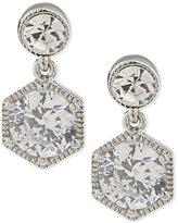 Lauren Ralph Lauren Silver-Tone Crystal Double Drop Earrings