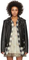 R 13 Black Leather Motorcycle Jacket