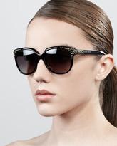 Alexander McQueen Cat-Eye Stud Sunglasses, Black