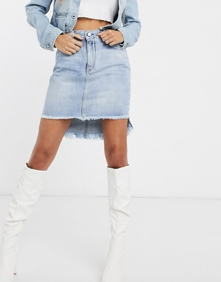Replay washed denim skirt with stepped frayed hem