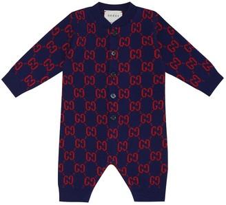 Gucci Kids Baby GG wool-jacquard onesie