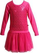 Dollie & Me Little Girls' Raglan Knit to Glitter Mesh Drop Waist Fashion Dress