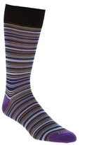 Lorenzo Uomo Men's Multistripe Crew Socks