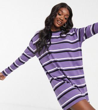 Asos Tall ASOS DESIGN Tall oversized long sleeve t-shirt dress in dark purple black and white stripe