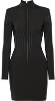Balmain Mesh-paneled Stretch-knit Mini Dress - Black