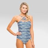 Tori Praver Seafoam Women's Striped Macrame High Neck Bandeau One Piece Swimsuit - Indigo Blue