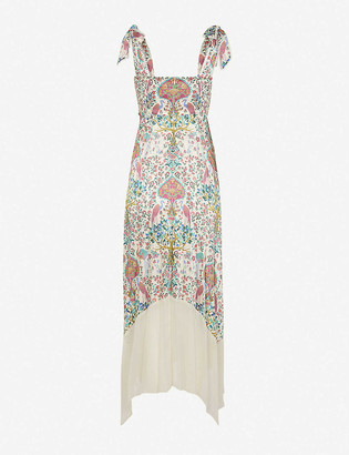 Sandro Irena graphic-print satin maxi dress