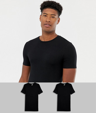 Asos Design DESIGN Tall 2 pack organic muscle fit crew neck t-shirt save-Black