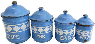One Kings Lane Vintage French Enamel Kitchen Canisters - Set of 4 - Rose Victoria