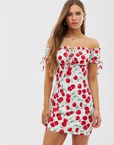 Glamorous off shoulder ruched bodycon dress with ties in cherry print