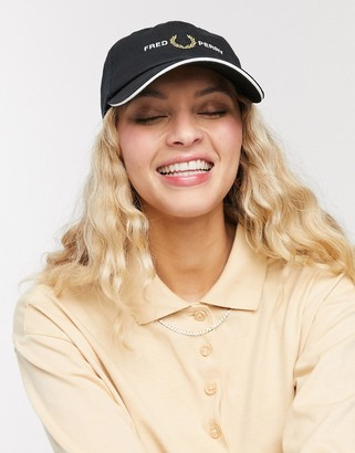 Fred Perry graphic cap in black