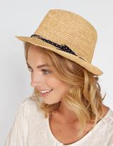 Fat Face Spot Bow Straw Trilby