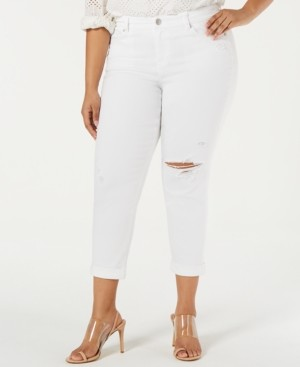 Celebrity Pink Trendy Plus Size Ripped Girlfriend Jeans