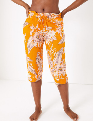 Marks and Spencer Cotton Floral Print Cropped Pyjama Bottoms