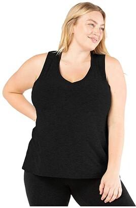 Beyond Yoga Plus Size All About It Split Back Bopo Tank Top (Darkest Night) Women's Workout