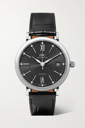 IWC SCHAFFHAUSEN Portofino Automatic 37mm Stainless Steel, Alligator And Diamond Watch - Silver