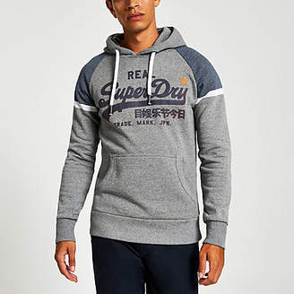 River Island Superdry grey chest logo print hoodie