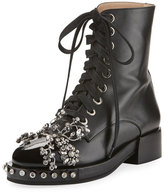 No.21 No. 21 Crystal-Embellished Lace-Up Combat Boot