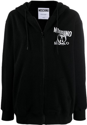 Moschino Double Question Mark zipped hoodie