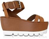See by Chloe Cognac Leather Wedge Sandal