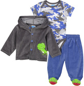 Bon Bebe Blue & Gray Camouflage Bodysuit & Pants Set - Infant