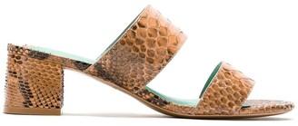 Blue Bird Shoes Python block heel mules