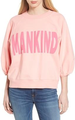 7 For All Mankind Crewneck Sweatshirt 3/4 Puff Sleeve