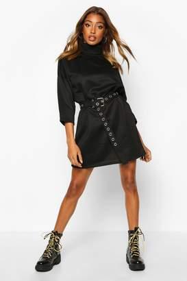 boohoo Roll Neck 3/4 Sleeve Sweatshirt Dress