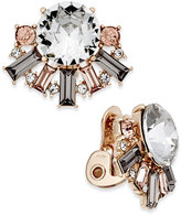 Charter Club Rose Gold-Tone Crystal Clip-On Stud Earrings, Only at Macy's