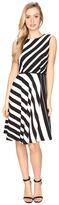 Tahari by ASL Multi-Stripe Crepe A-Line Dress