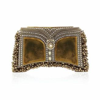 Mae Cassidy Zeenat Pearl Clutch Velvet Golden Olive