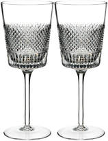 Waterford Crystal Diamond Line Wine Glasses Set of Two